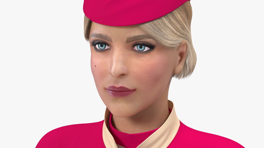 Airline Hostess in Maroon Uniform T Pose royalty-free 3d model - Preview no. 11