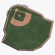 Campo de béisbol con pared acolchada modelo 3d