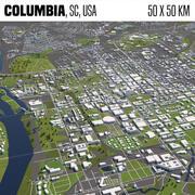 Колумбия Южная Каролина США 50x50 км 3d model