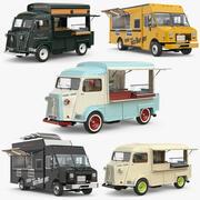 식품 트럭 세트 3d model