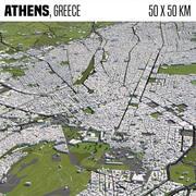 Athens Greece 50x50km 3d model