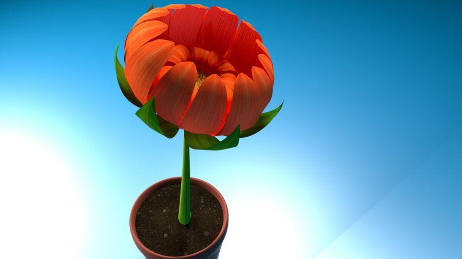 Дейзи Красный Цветок royalty-free 3d model - Preview no. 9