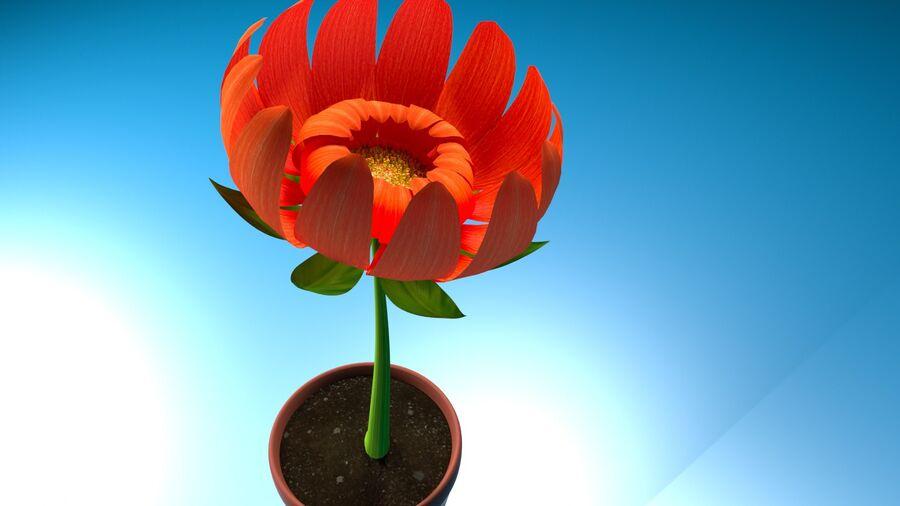 Дейзи Красный Цветок royalty-free 3d model - Preview no. 10