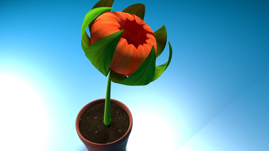 Дейзи Красный Цветок royalty-free 3d model - Preview no. 8