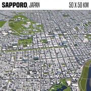 Sapporo Japonya 50x50km 3d model