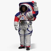 Femmina astronauta tuta spaziale NASA xEMU saluti posa 3d model