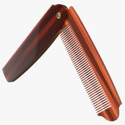 Folding Pocket Comb Brown 3d model
