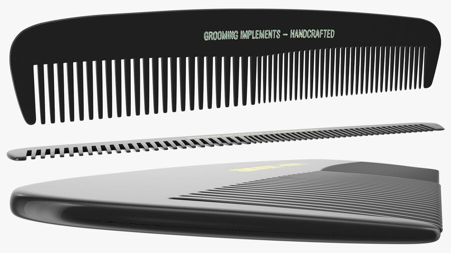Pocket Comb Black royalty-free 3d model - Preview no. 6