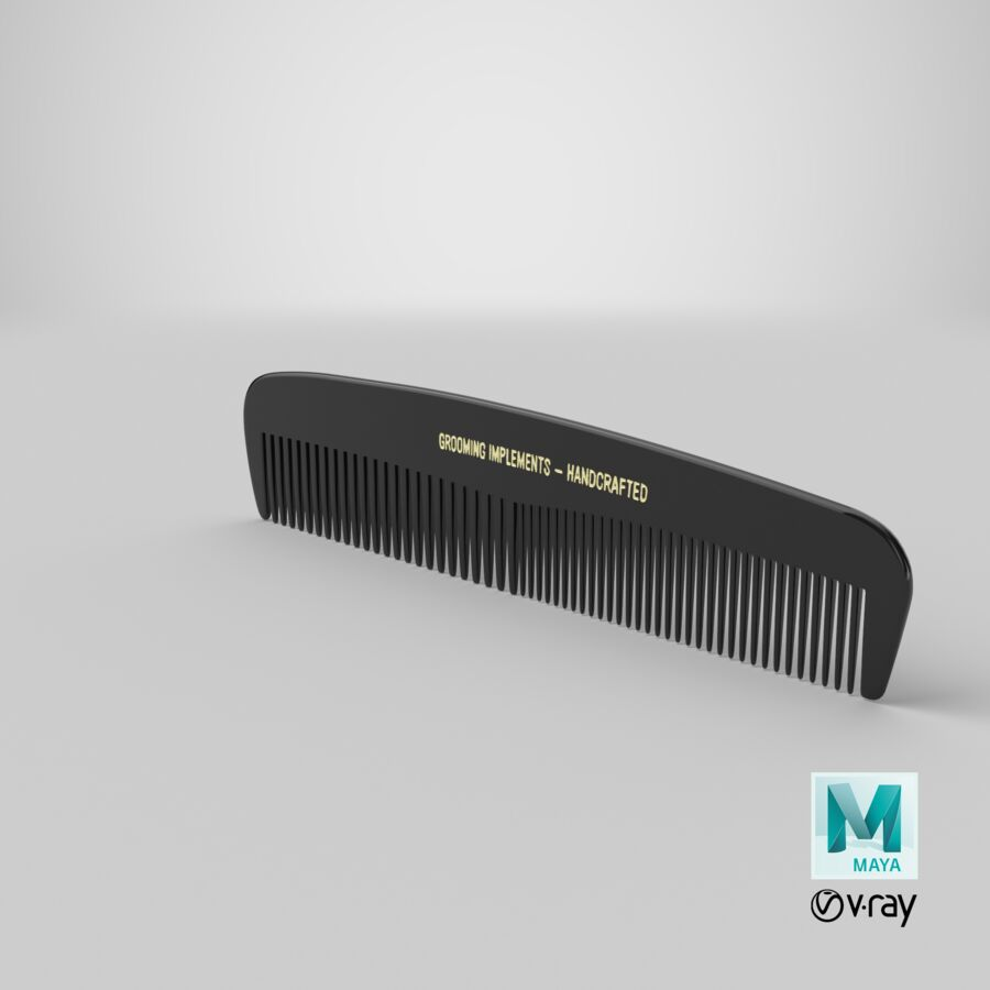 Pocket Comb Black royalty-free 3d model - Preview no. 10