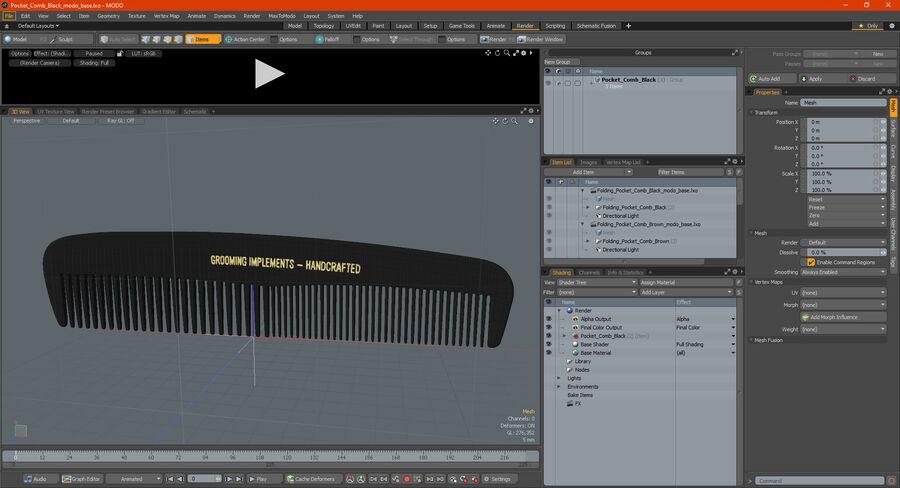 Pocket Comb Black royalty-free 3d model - Preview no. 19