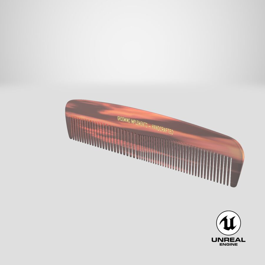 Pocket Comb Brown royalty-free 3d model - Preview no. 3