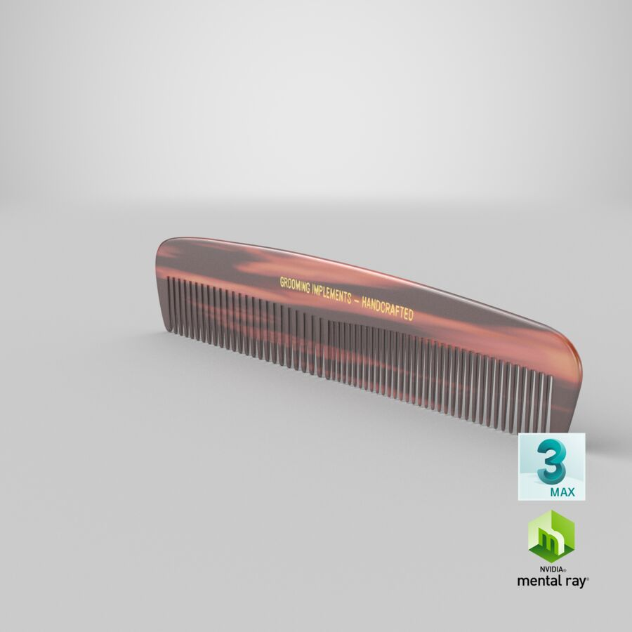 Pocket Comb Brown royalty-free 3d model - Preview no. 5