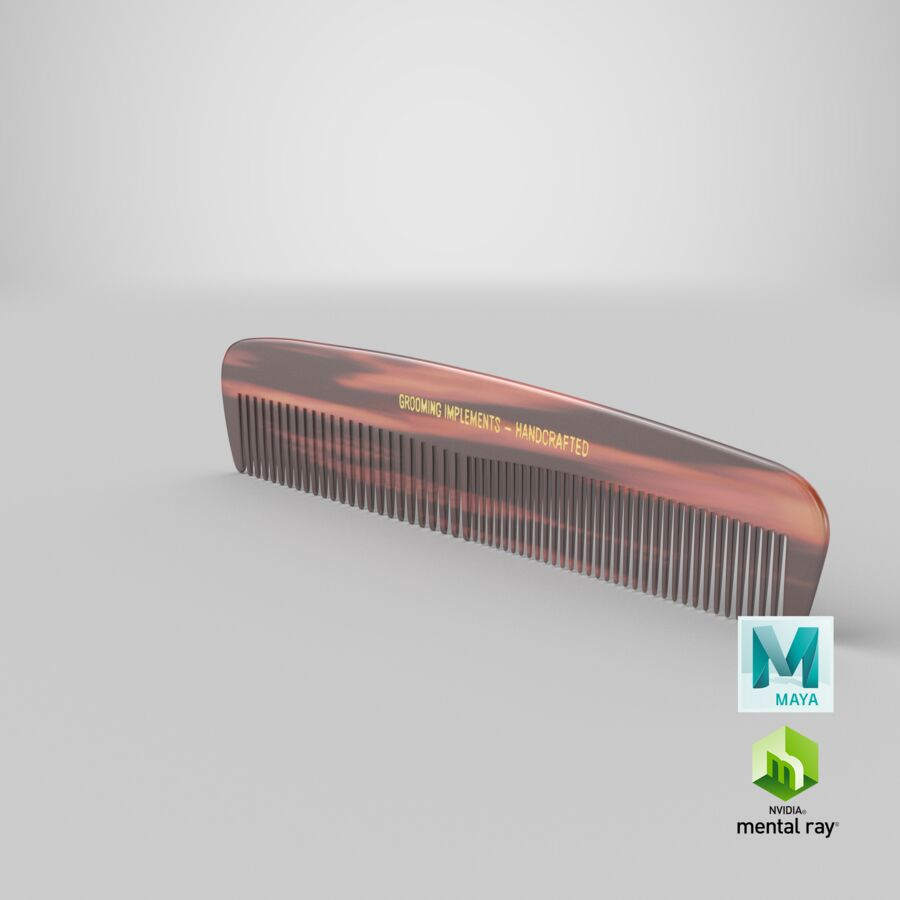 Pocket Comb Brown royalty-free 3d model - Preview no. 8