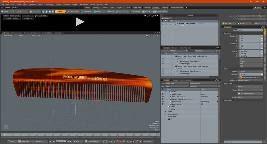 Pocket Comb Brown royalty-free 3d model - Preview no. 20