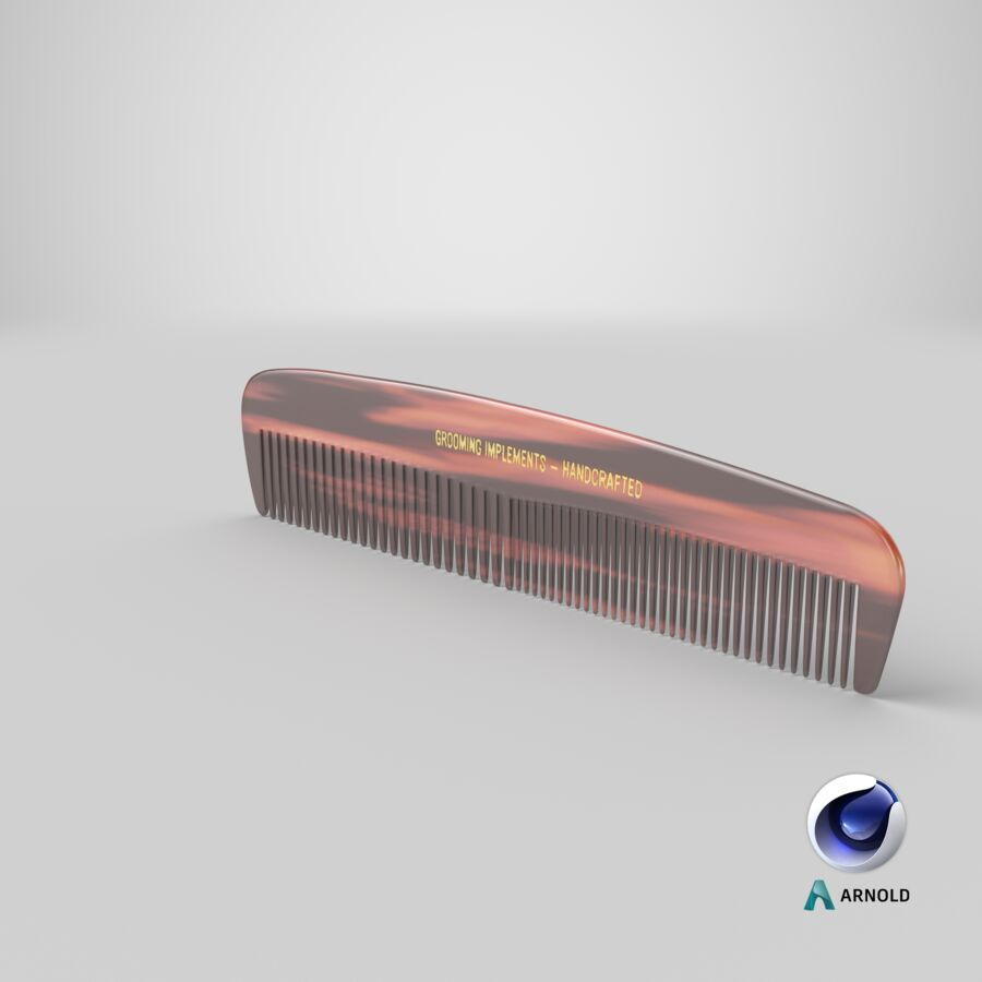 Pocket Comb Brown royalty-free 3d model - Preview no. 1