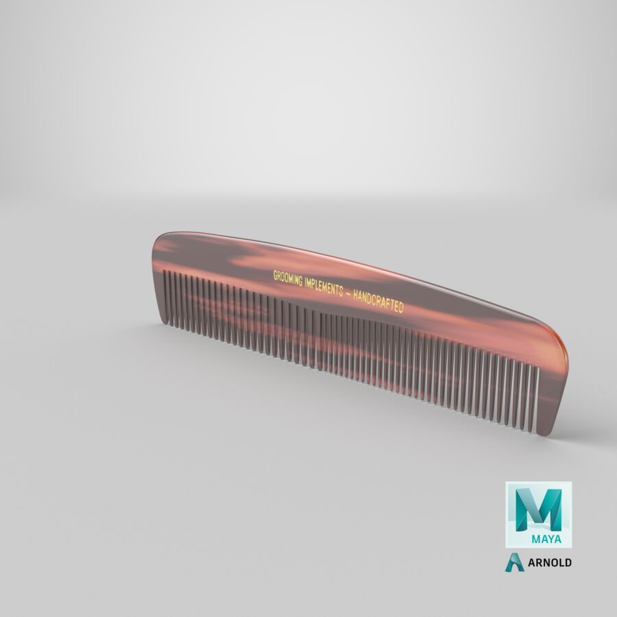 Pocket Comb Brown royalty-free 3d model - Preview no. 7