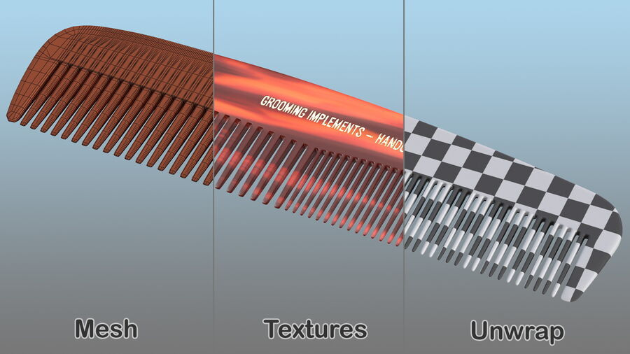 Pocket Comb Brown royalty-free 3d model - Preview no. 11