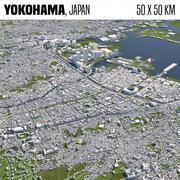 Jokohama Japonia 50x50km 3d model