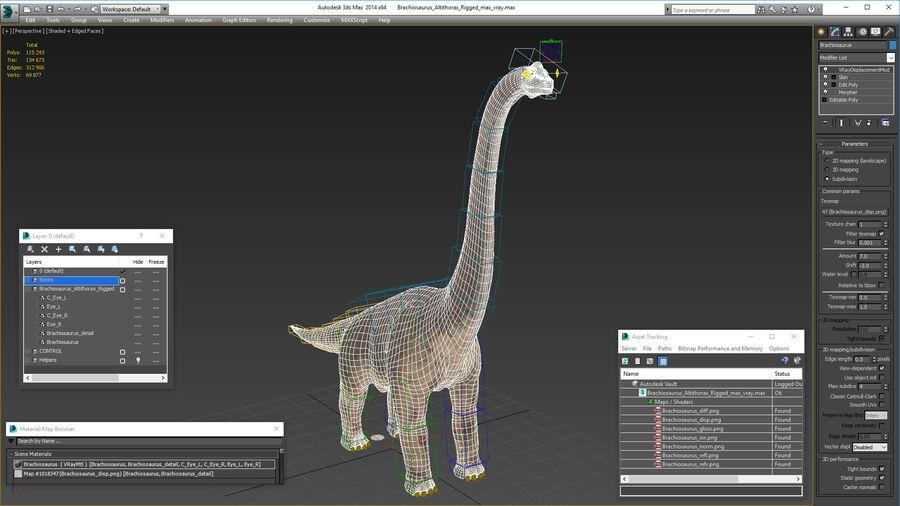 Brachiosaurus Altithorax aparejado royalty-free modelo 3d - Preview no. 28