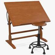 Stół kreślarski Vintage Wood z zestawem stołków kreślarskich 3d model