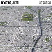 Kyoto Japonya 50x50km 3d model
