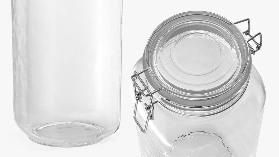 Clip Top Glass Storage Preserving Jar royalty-free 3d model - Preview no. 5