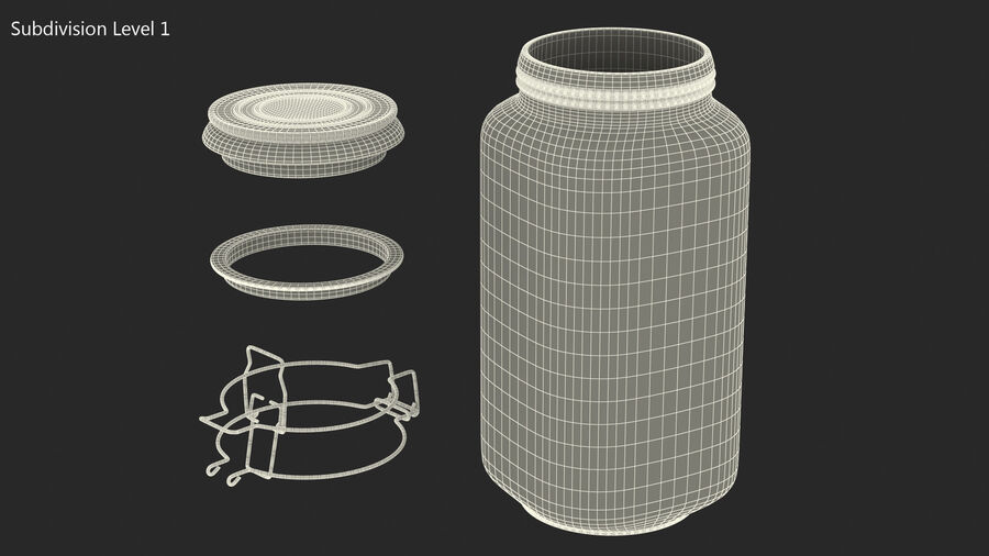 Clip Top Glass Storage Preserving Jar royalty-free 3d model - Preview no. 10