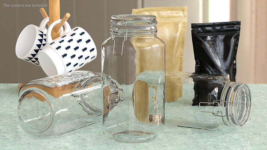 Clip Top Glass Storage Preserving Jar royalty-free 3d model - Preview no. 2
