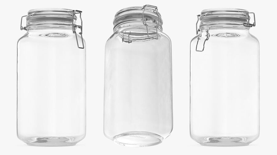 Clip Top Glass Storage Preserving Jar royalty-free 3d model - Preview no. 3