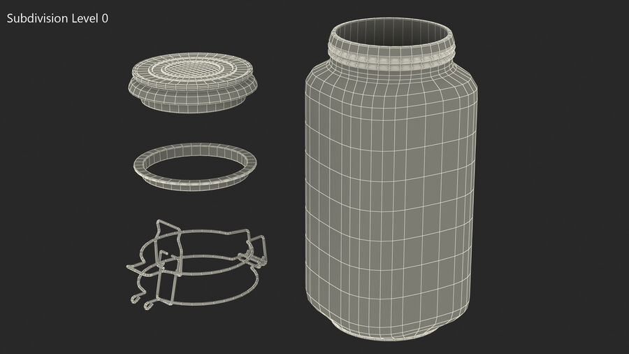 Clip Top Glass Storage Preserving Jar royalty-free 3d model - Preview no. 9