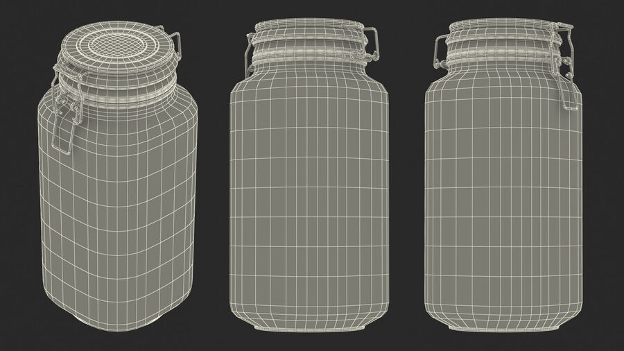 Clip Top Glass Storage Preserving Jar royalty-free 3d model - Preview no. 18