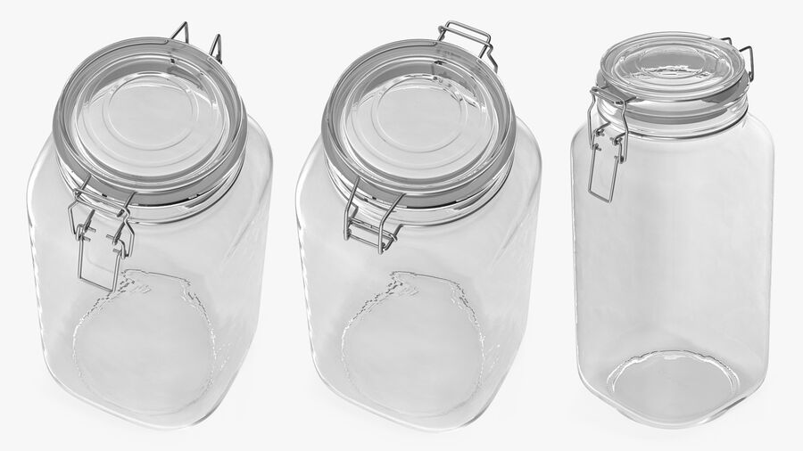Clip Top Glass Storage Preserving Jar royalty-free 3d model - Preview no. 4