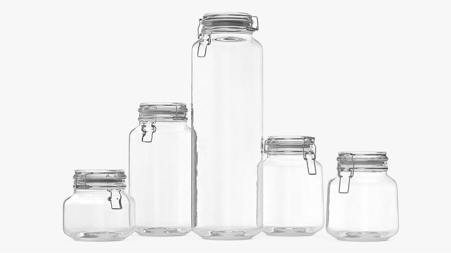 Clip Top Glass Storage Preserving Jars Set royalty-free 3d model - Preview no. 4