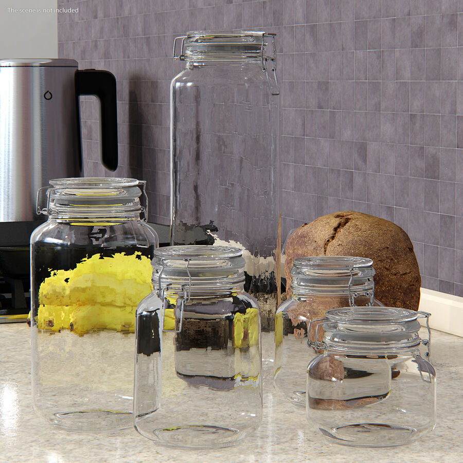 Clip Top Glass Storage Preserving Jars Set royalty-free 3d model - Preview no. 3
