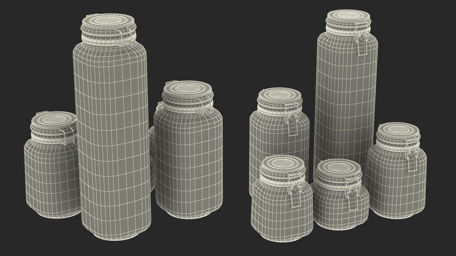 Clip Top Glass Storage Preserving Jars Set royalty-free 3d model - Preview no. 23