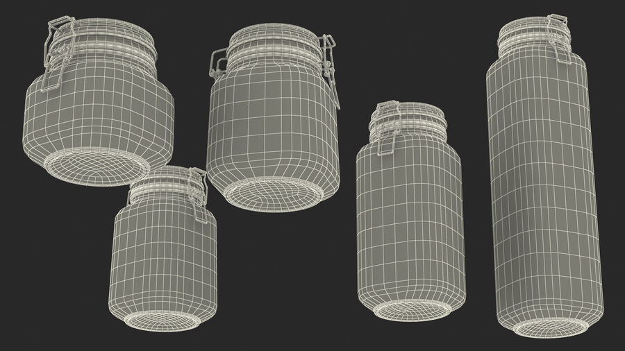Clip Top Glass Storage Preserving Jars Set royalty-free 3d model - Preview no. 26