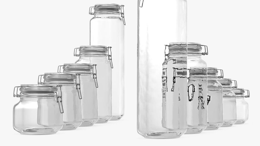 Clip Top Glass Storage Preserving Jars Set royalty-free 3d model - Preview no. 8