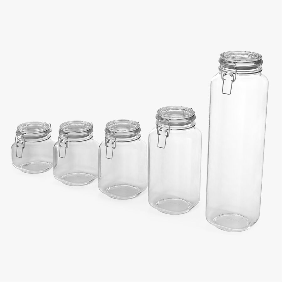 Clip Top Glass Storage Preserving Jars Set royalty-free 3d model - Preview no. 1