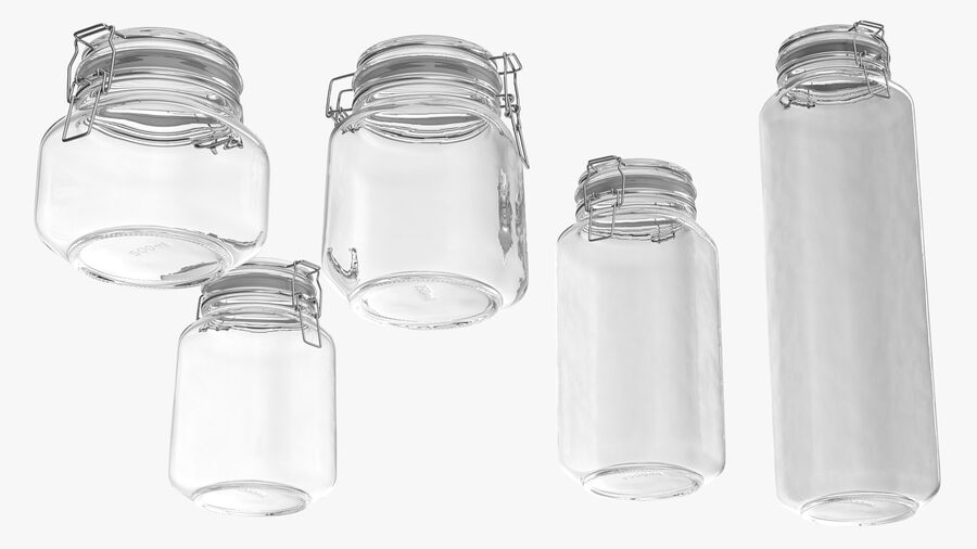 Clip Top Glass Storage Preserving Jars Set royalty-free 3d model - Preview no. 9