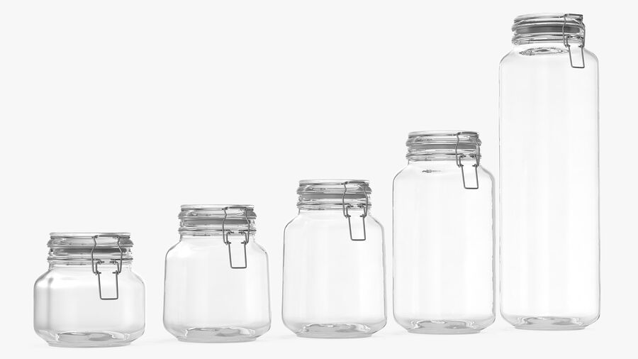 Clip Top Glass Storage Preserving Jars Set royalty-free 3d model - Preview no. 2