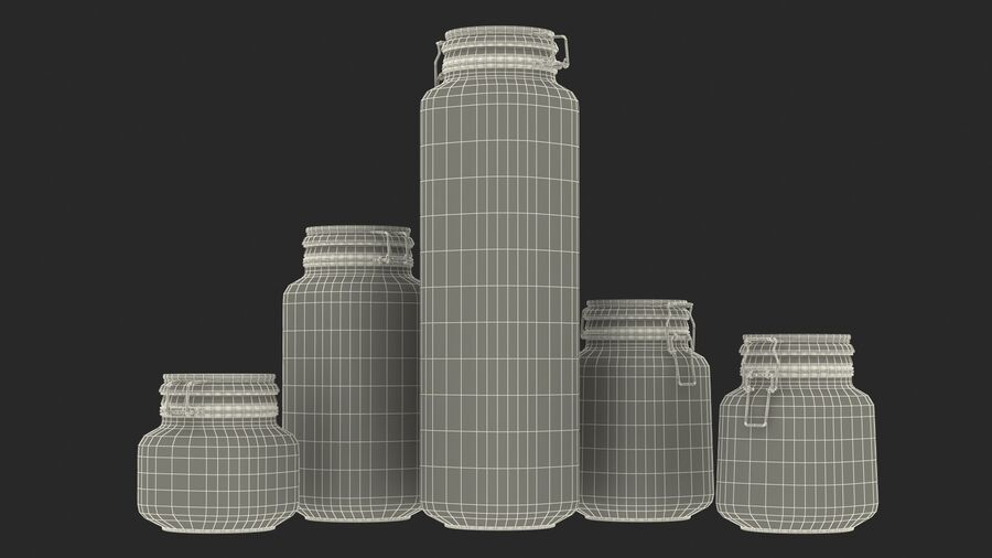 Clip Top Glass Storage Preserving Jars Set royalty-free 3d model - Preview no. 22
