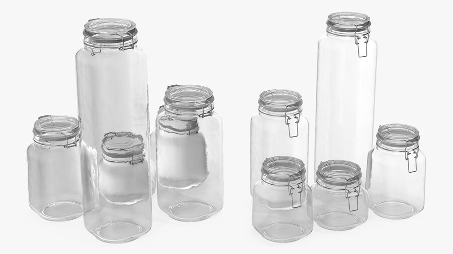 Clip Top Glass Storage Preserving Jars Set royalty-free 3d model - Preview no. 5