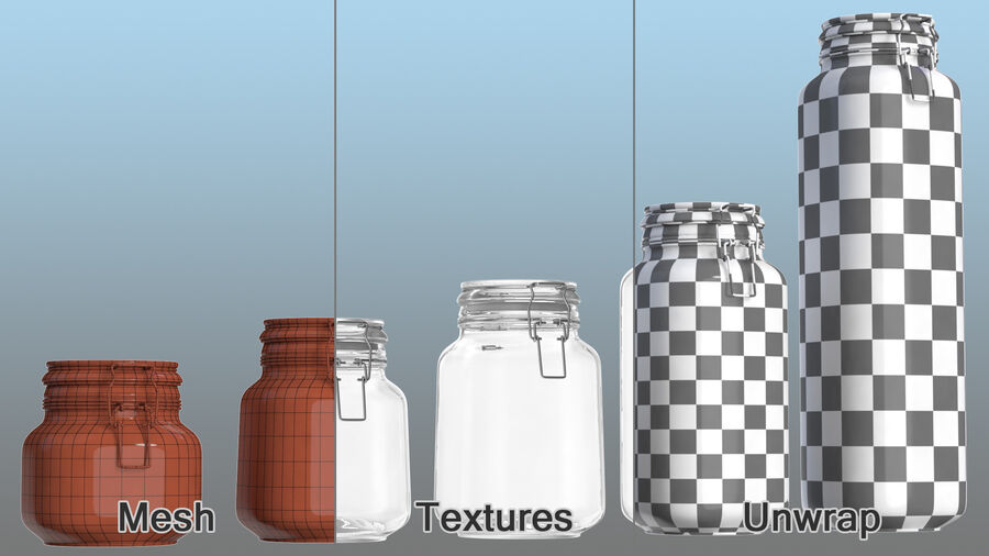 Clip Top Glass Storage Preserving Jars Set royalty-free 3d model - Preview no. 11