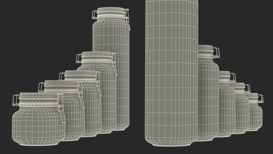 Clip Top Glass Storage Preserving Jars Set royalty-free 3d model - Preview no. 25