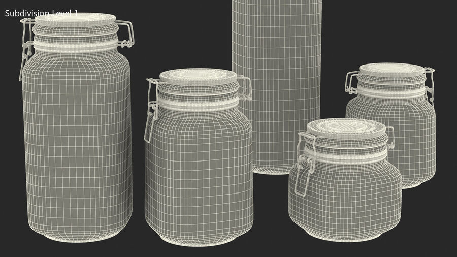 Clip Top Glass Storage Preserving Jars Set royalty-free 3d model - Preview no. 13