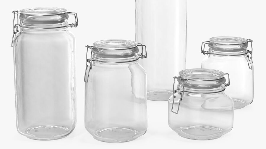 Clip Top Glass Storage Preserving Jars Set royalty-free 3d model - Preview no. 7