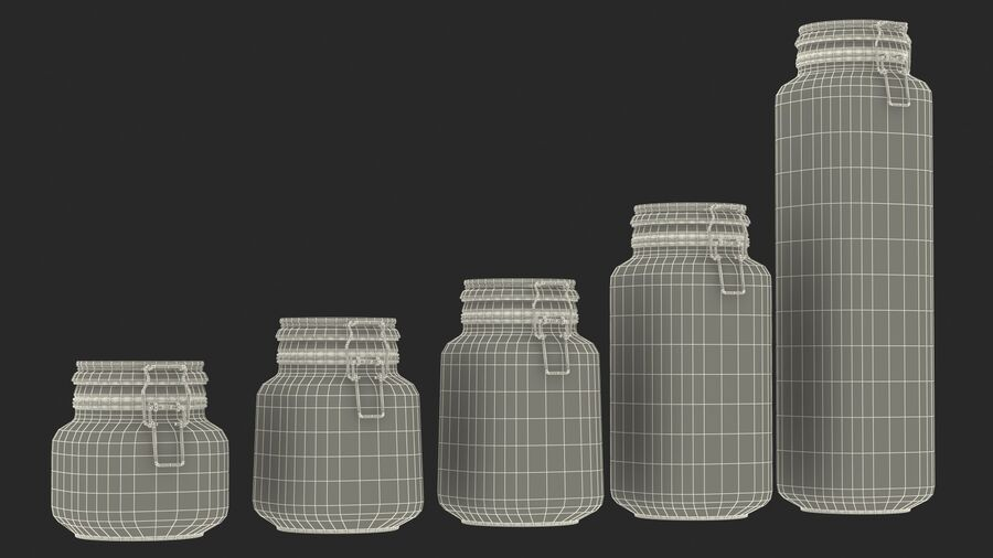 Clip Top Glass Storage Preserving Jars Set royalty-free 3d model - Preview no. 21