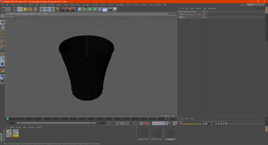 Faceted Glass of Vodka royalty-free 3d model - Preview no. 18