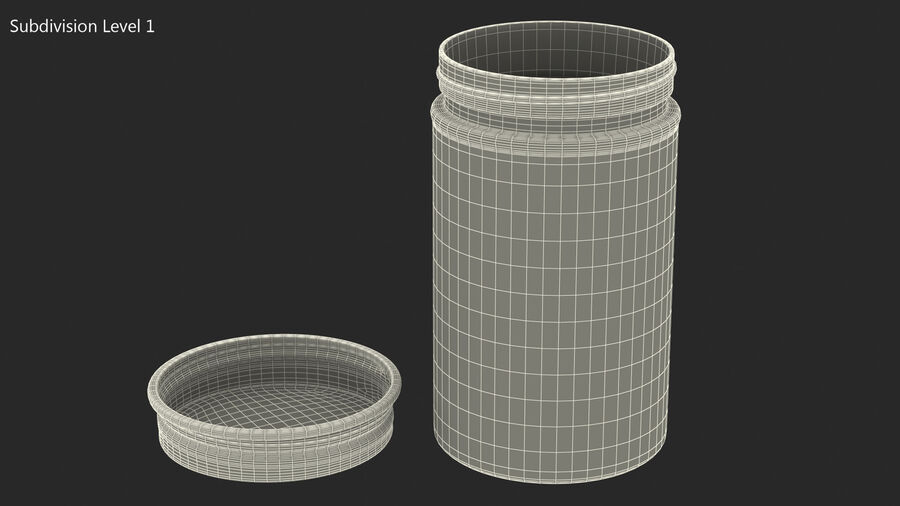 Kitchen Storage Glass Jar with Steel Lid royalty-free 3d model - Preview no. 12