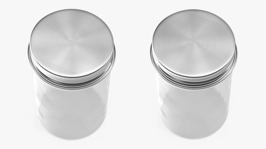 Kitchen Storage Glass Jar with Steel Lid royalty-free 3d model - Preview no. 7